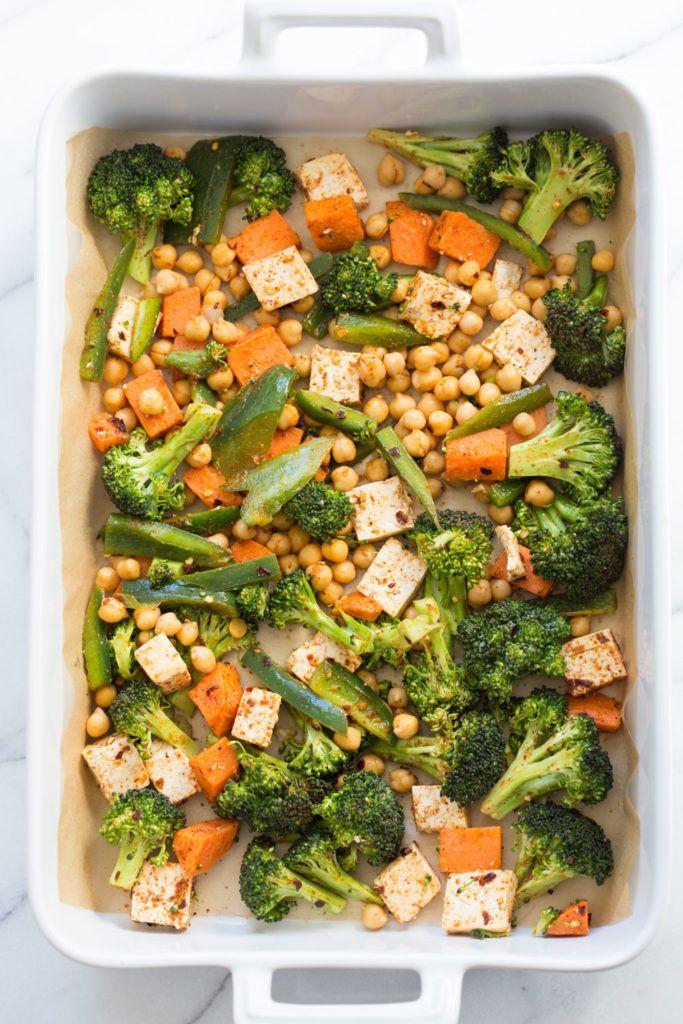 Sheet Pan Veggie Dinner with Broccoli, Sweet Potato, Tofu, Chickpeas & Miso Maple Dressing - Vegan Richa