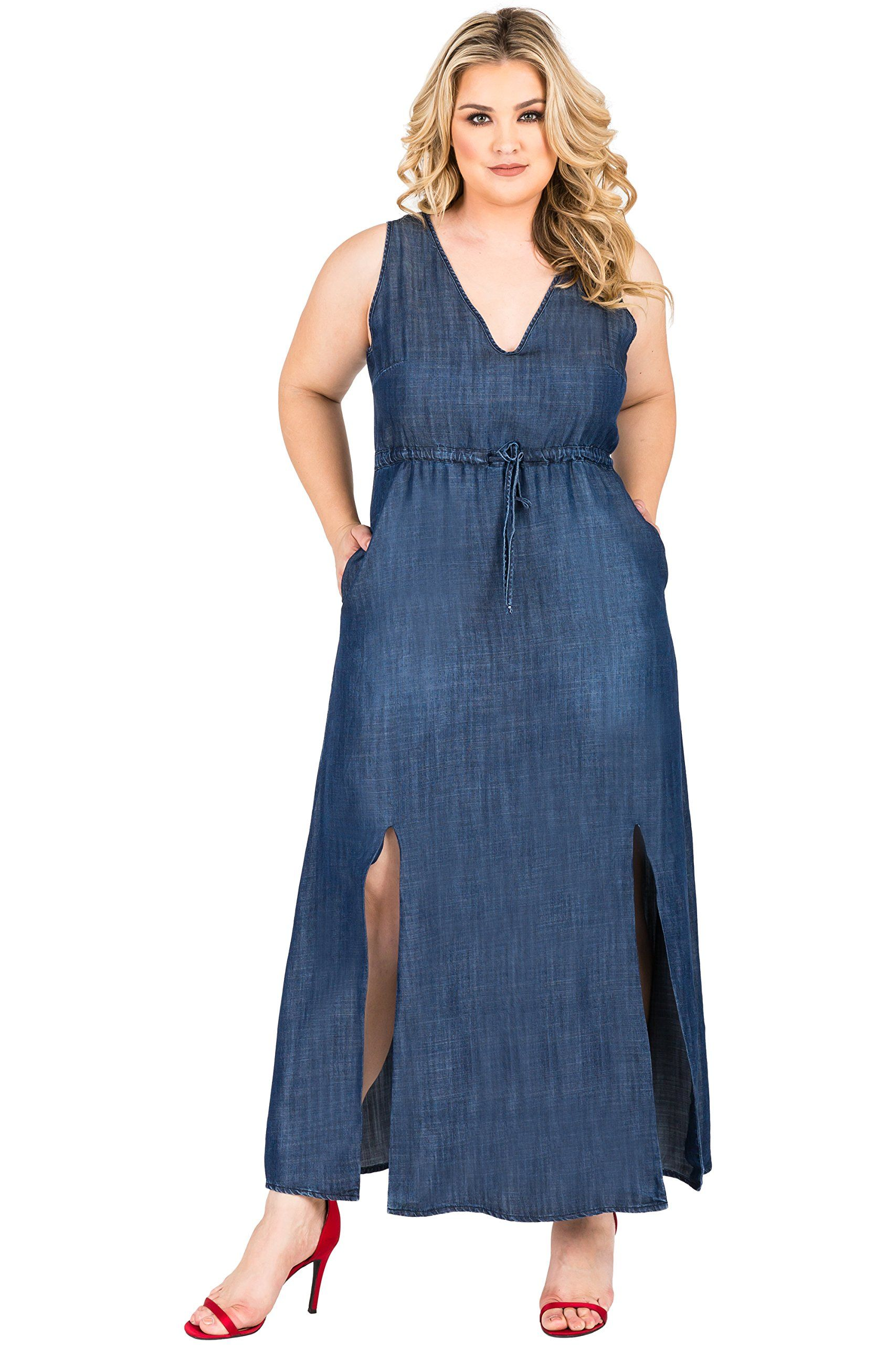 b9e7a06eaa7 Fashion Bug Plus Size Tencel V-Neck Double Slit Sleeveless Maxi Dress Size  2X www.fashionbug.us #plussize #fashionbug #dress #curvy