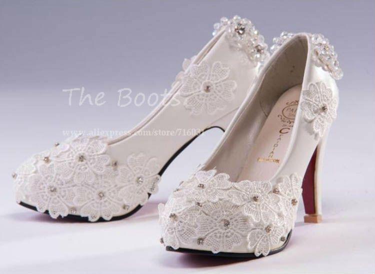 hand-made White Wedding shoes Lace Rhinestones Bridal flats low high heel pump