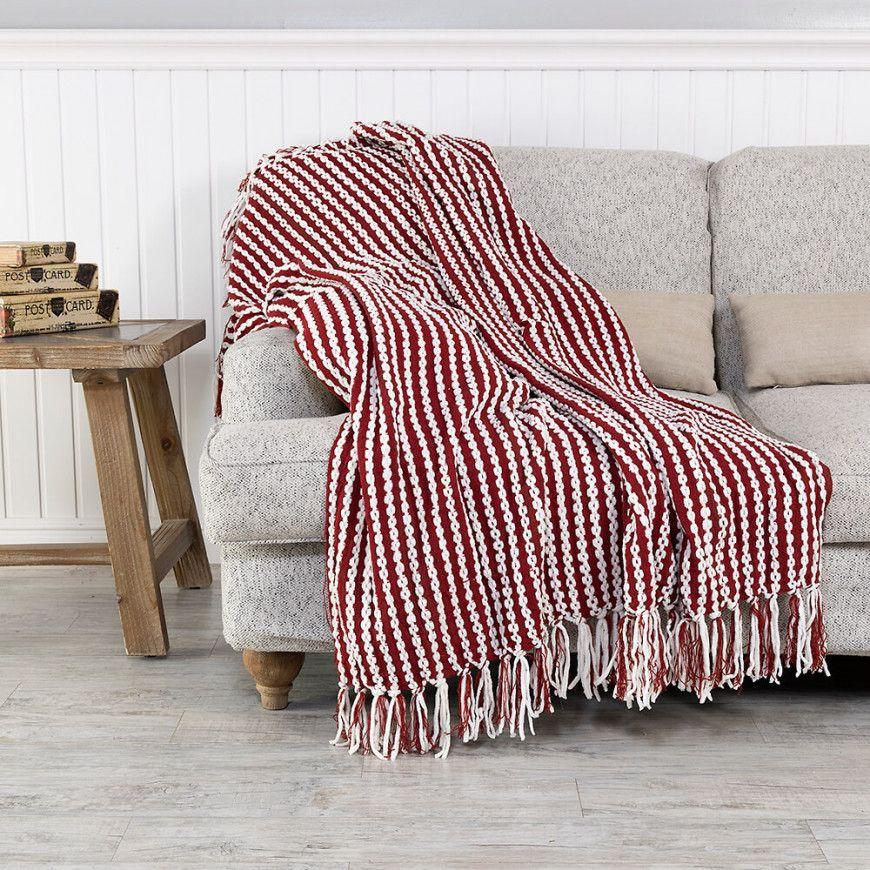 شال كنب لون أبيض و عنابي Throw Blanket Blanket Sofa