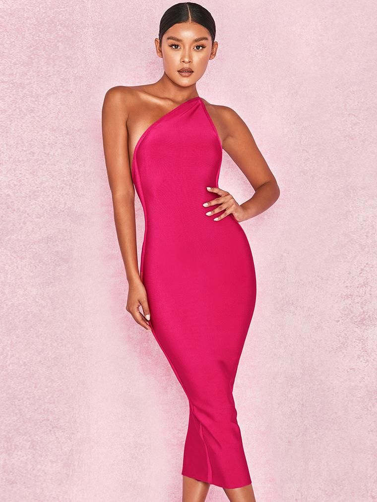 15e501ac424 Pink One Shoulder Bandage Midi Dress – CHICIDA. Cut Out Sexy Bodycon ...