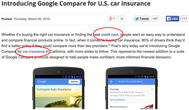 Google Changes Car Insurance Links After Seos Complain Anchor