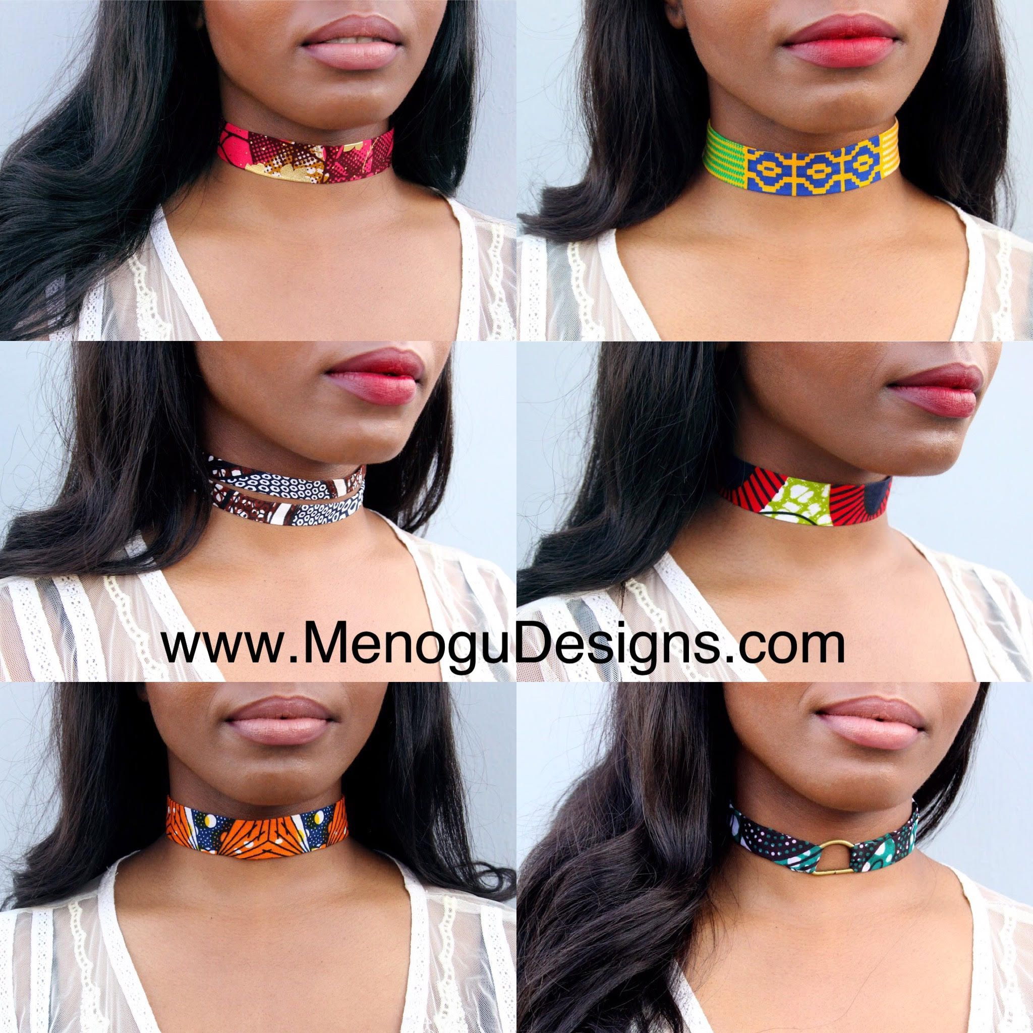 Denim fabric band design  African queen wood  charm Choker. afrocentric choker African queen choker African choker bohemian choker