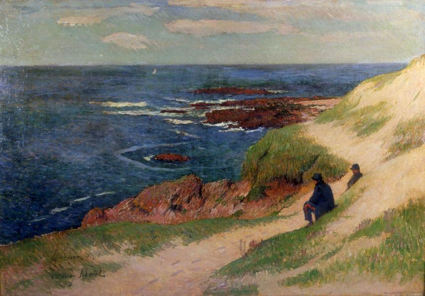 Bord de mer à Larmor-Plage. Henry MORET (Cherbourg 1856 - Paris 1913).  Huile sur toile. 1891. | Paysage de mer peinture, Comment peindre, Les arts