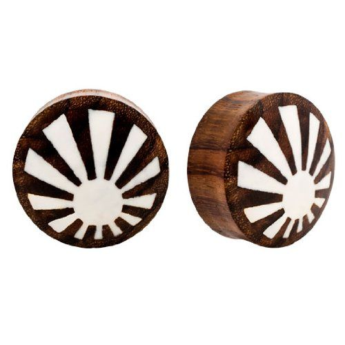 Pair Handmade Japanese Sun Raising Sono Wood Double Flared Ear Plugs Gauges