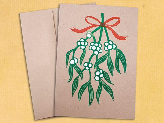 Block Printed Christmas Card - Mistletoe