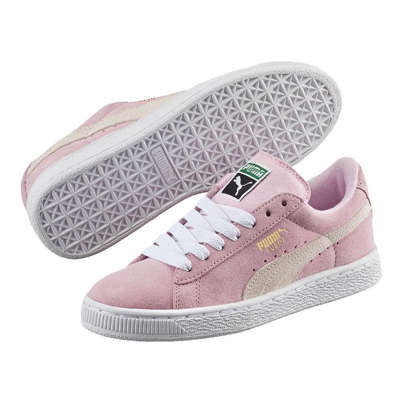 Puma Girls Suede Grade School Shoes Pink White Puma Suede Sneakers Girls Sneakers