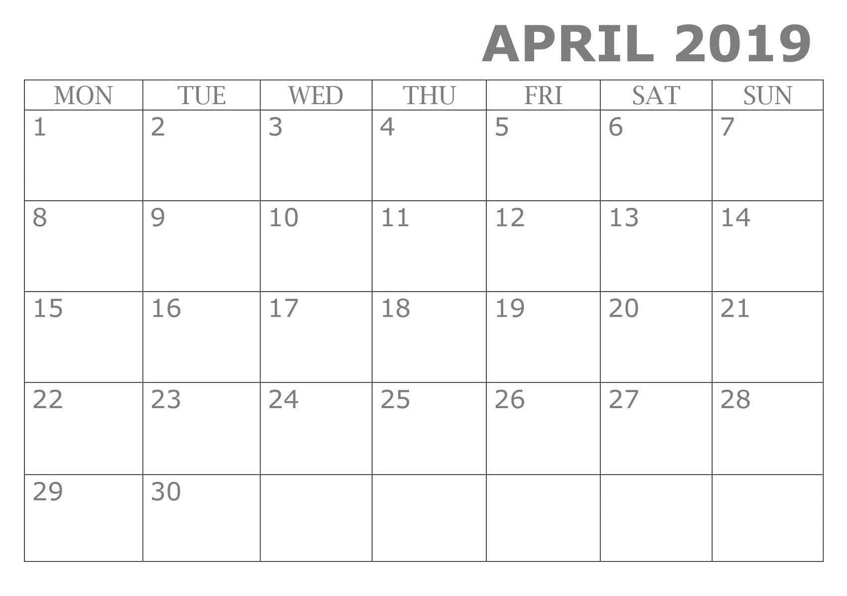 Google Calendar Template 2019 Printable April 2019 Calendar Template | Calendar April 2019