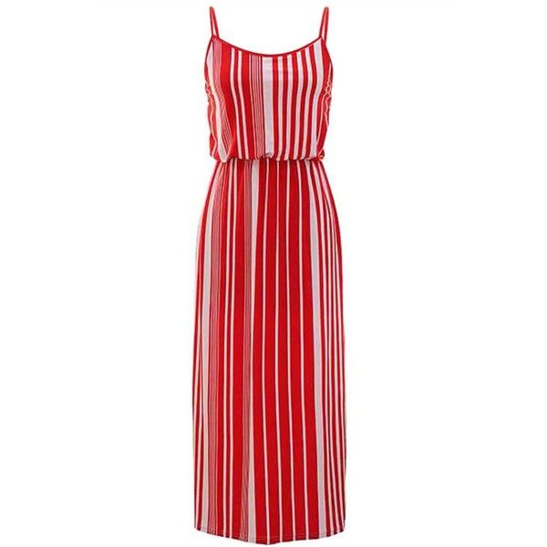 3203318c24b Red   White Vertical Striped Long Maxi Dress With Spaghetti Straps ( 16) ❤  liked on Polyvore featuring dresses