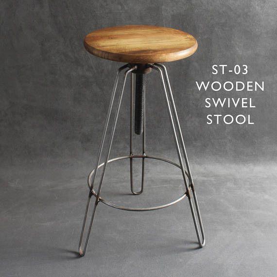 Industrial Metal Wooden Bar Stools Seats Swivel Hairpin Legs