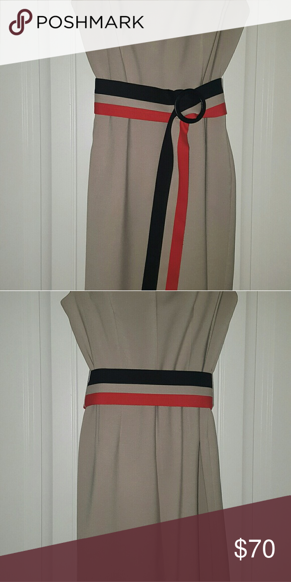 Tahari dress Tan cocktail dress worn only once. In excellent condition. Tahari Dresses Midi
