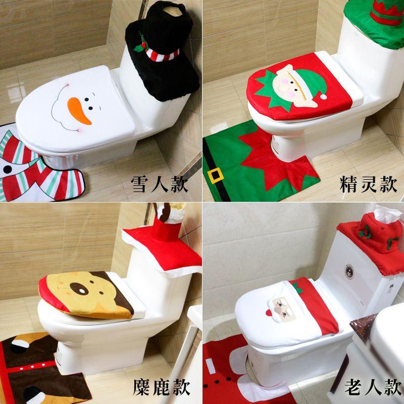 Xmas Toilet Seat Cover 3 PCS Set Cartoon Bathroom Mat Christmas Decoration For Home Snowman
