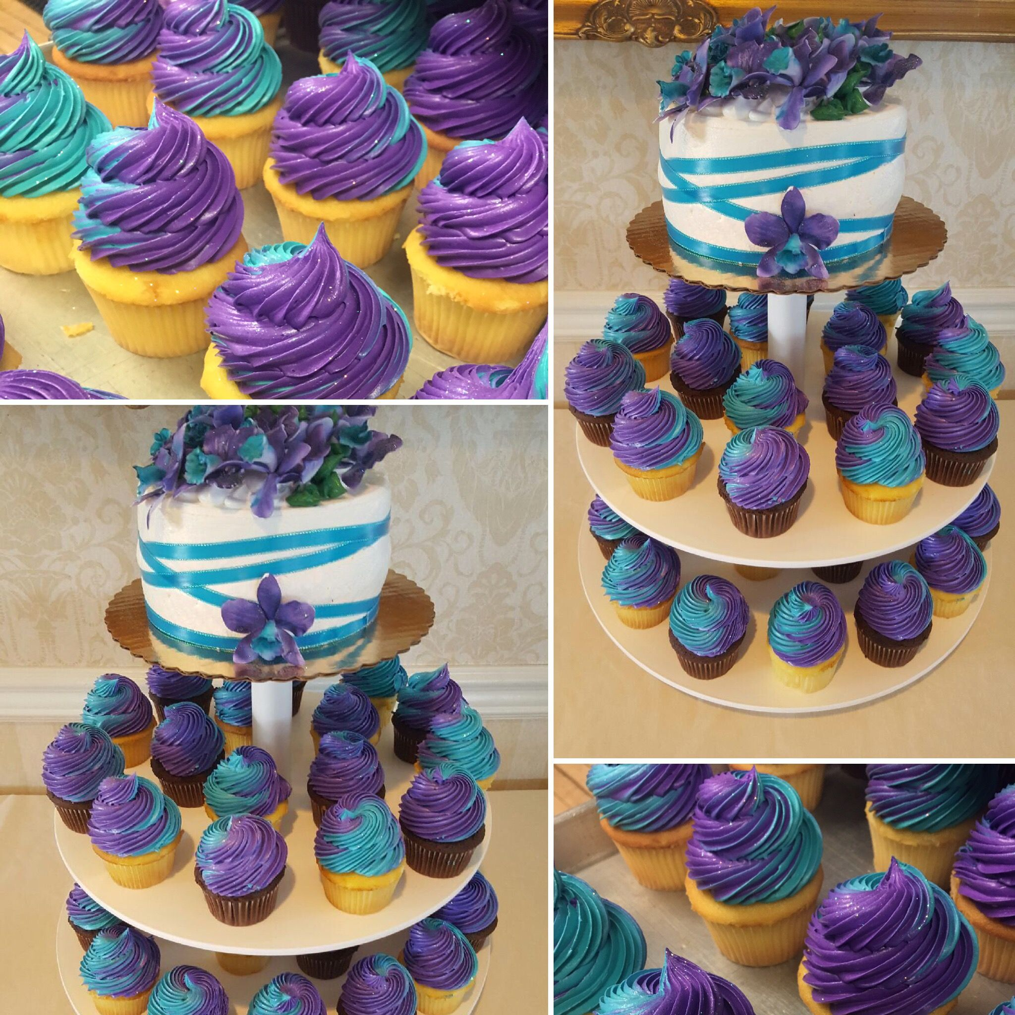 Purple And Teal Cupcake Wedding Tower Orchids And Disco Dust