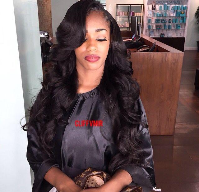 Pinterest Desiredlorraine Side Part Sew In With Curls Hair Waves Weave Hairstyles Virgin Hair Wigs