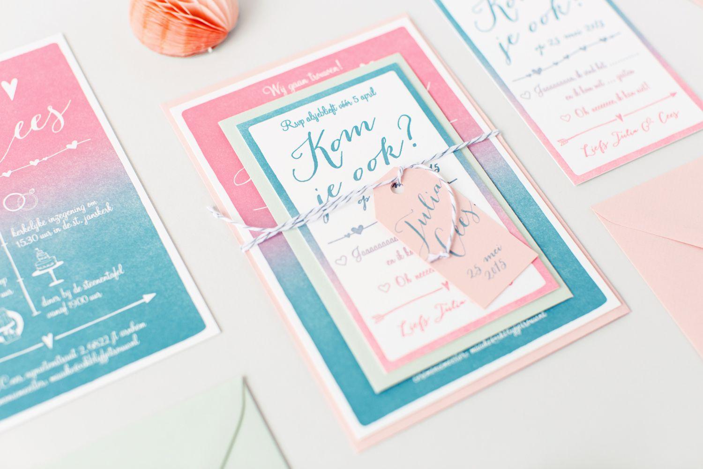 Letterpress wedding invite / stationary with gradient print ...