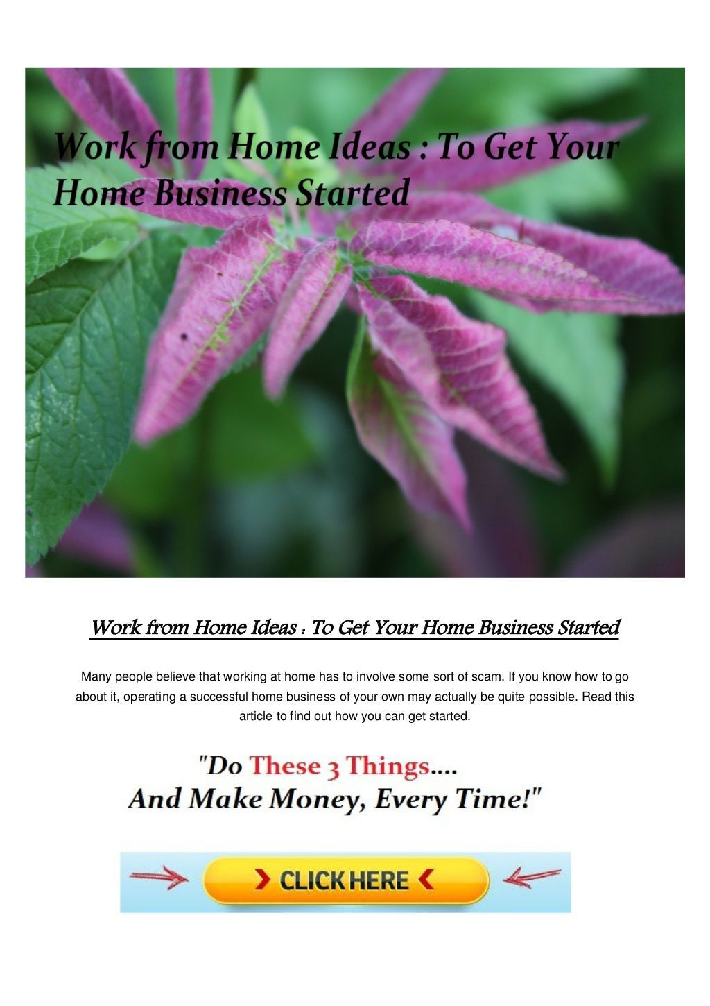 Work From Home Ideas To Get Your Home Business Started By Online