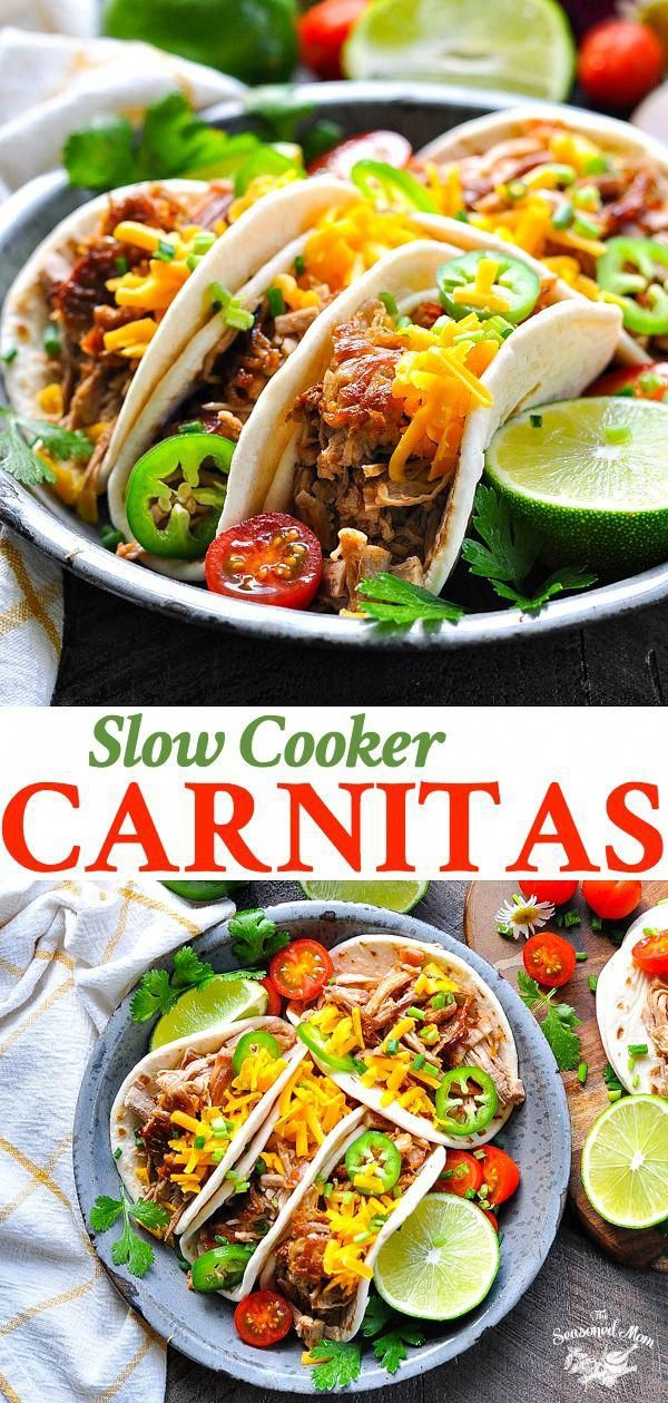 These Slow Cooker Carnitas are an easy and healthy dinner recipe that simmers in the Crock Pot all day long! Pork Recipes | Pork Tenderloin | Mexican Food
