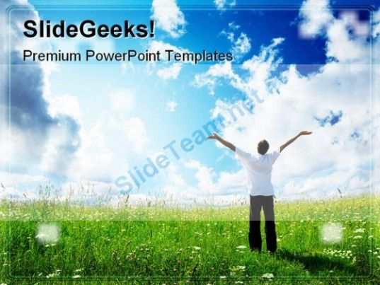 Young Man Standing In Field Nature PowerPoint Templates And - nature powerpoint