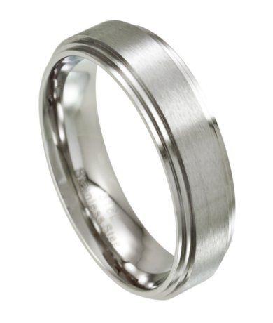 Men S Stainless Steel Wedding Ring Satin Finish 7mm Width