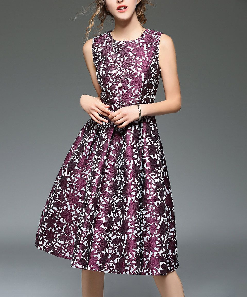 Take a look at this Vicky and Lucas Purple Jacquard Fit & Flare ...