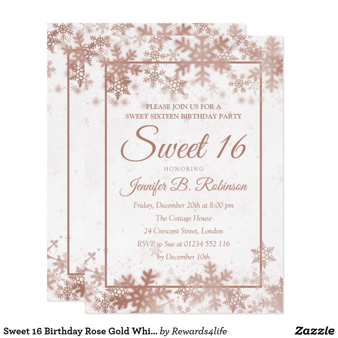 Sweet 5 Birthday Rose Gold White Foil Snowflakes Invitation