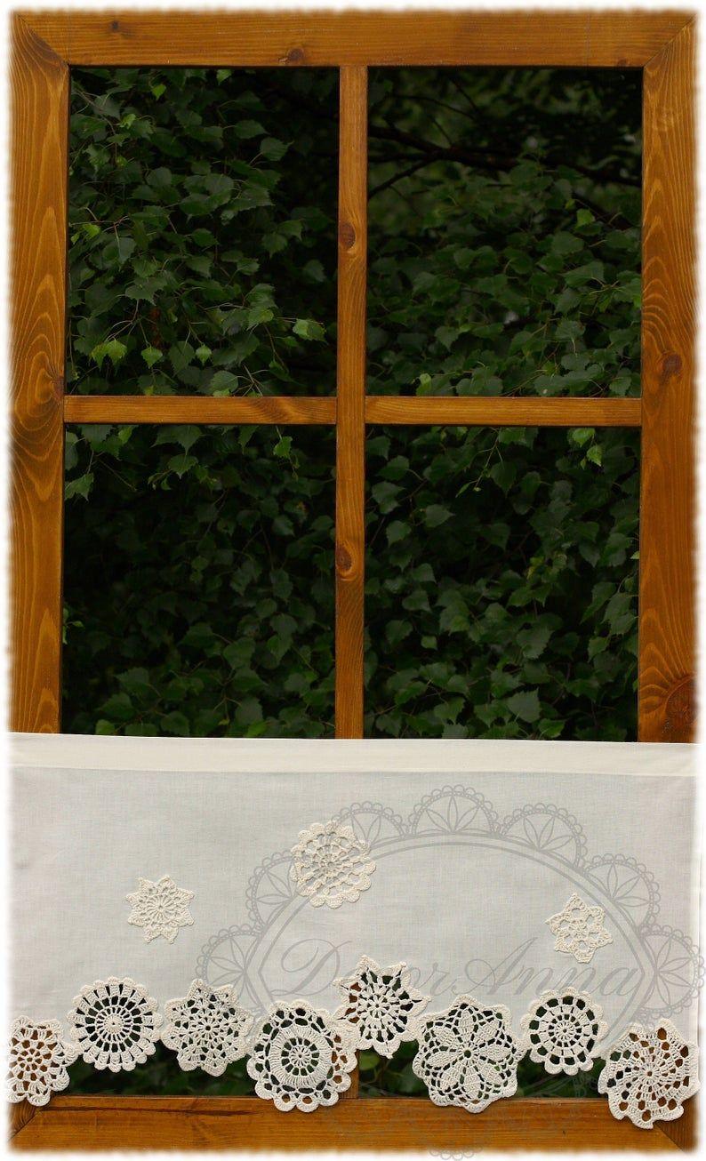 Shabby Chic Gardine Landhausgardine Scheibengardine Mit Etsy In 2020 Shabby Chic Curtains Cafe Curtains Lace Curtains