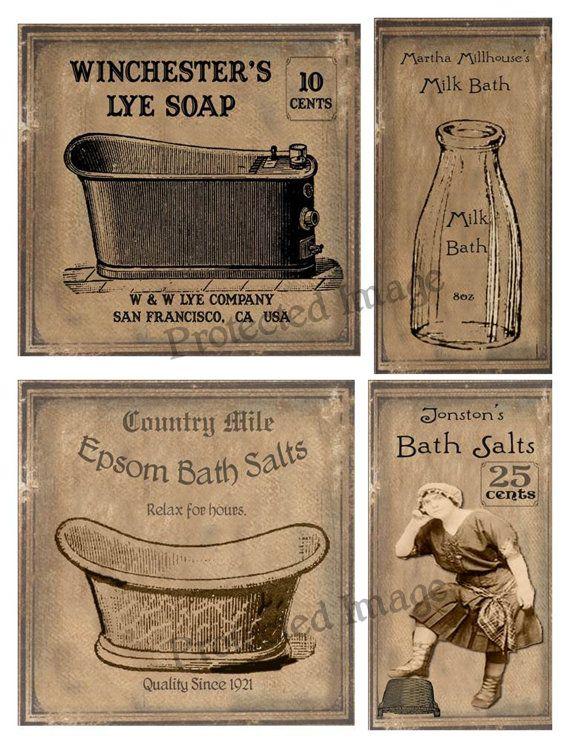 Primitive Milk Bath Salts Labels Instant Digital Download Primitive Labels Printable Labels Soap Labels