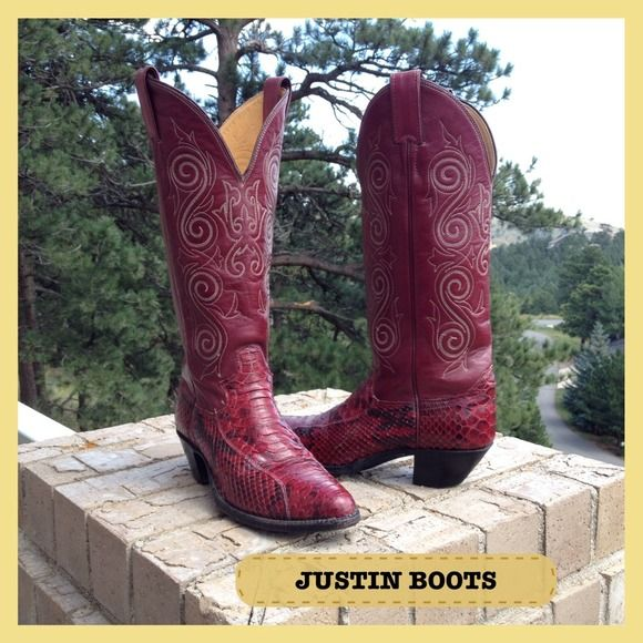 "HP JUSTIN Cordovan Leather & Snakeskin Boots Cowgirls that you can wear anywhere..a fashion plus! Gently preloved uppers look barely worn...in amazing shape. These boots are 15"" tall. Justin Shoes"