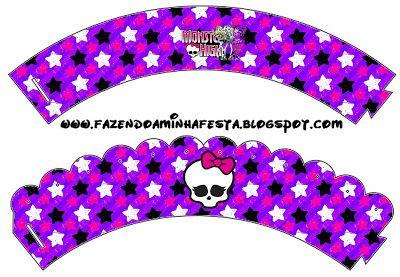 LARGE PRINTABLE SET- Monster High Roxo e Pink – Kit Completo com molduras para convites, rótulos para guloseimas, lembrancinhas e imagens! | Fazendo a Nossa Fest...