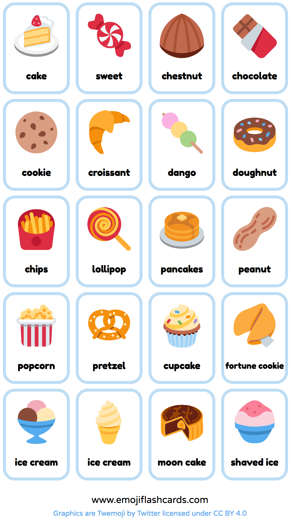 Free Snacks and Deserts English Printable Flashcards - made from emoji.