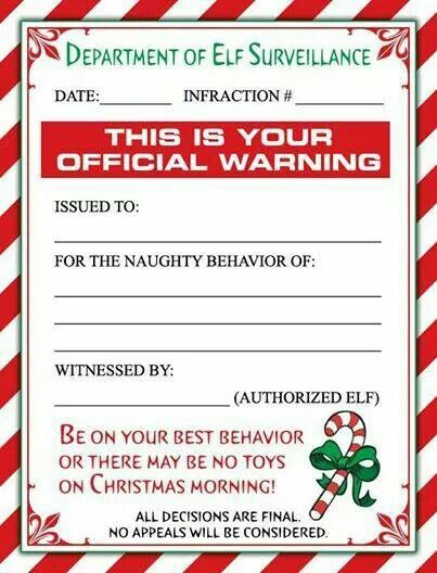 Bad behavior elf notices christmas pinterest elves shelving a cute christmas elf warning letter andor a personalized letter from santa for the little ones in your lifesweet baby jesus this shit will make any poor spiritdancerdesigns Gallery