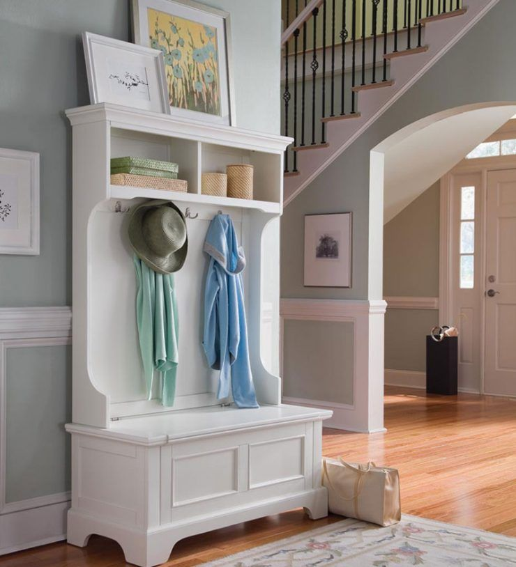 wonderful entryway storage bench and there is a clothes hanger