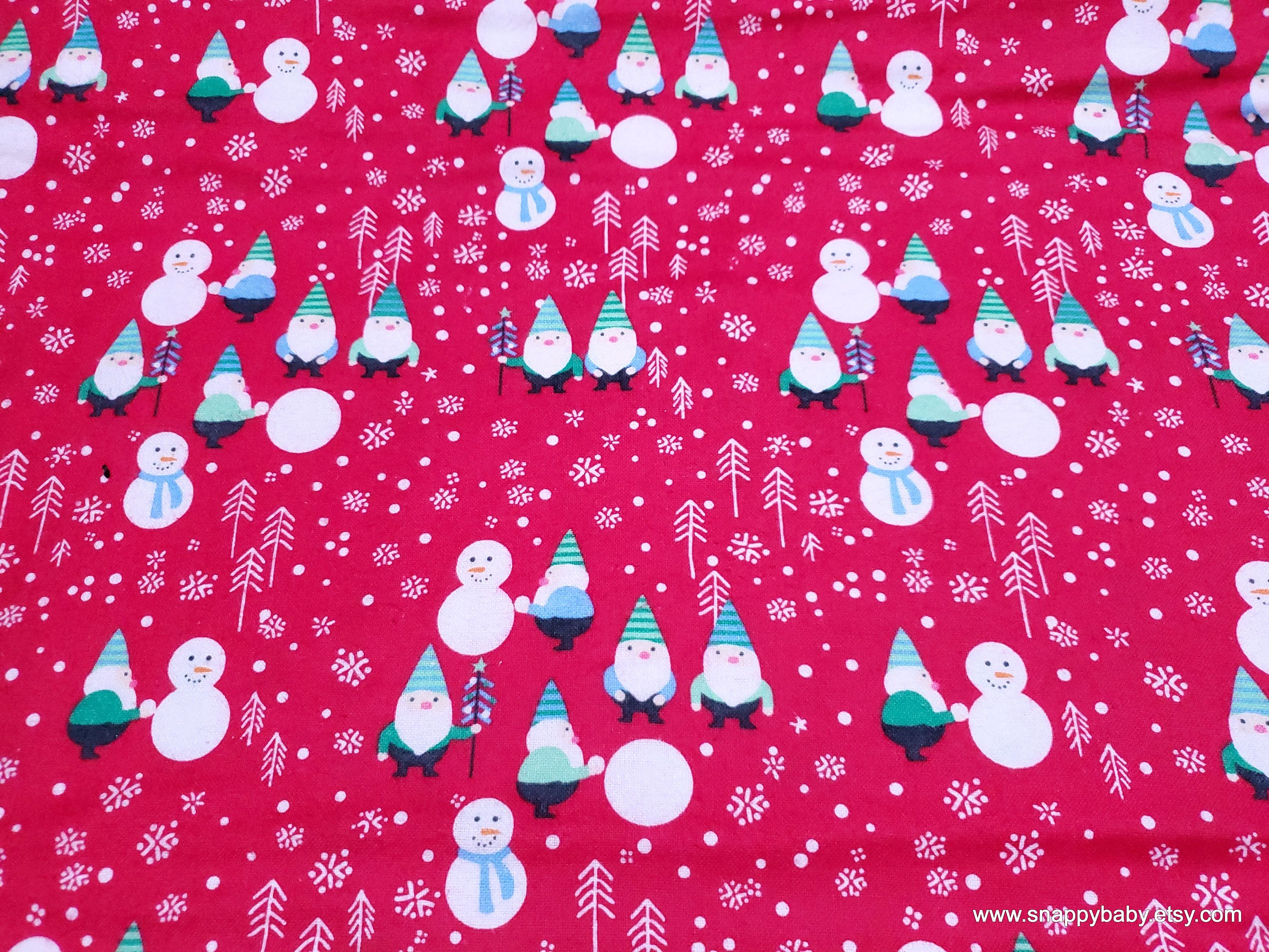 Christmas Flannel Fabric Gnome Christmas Story Red By