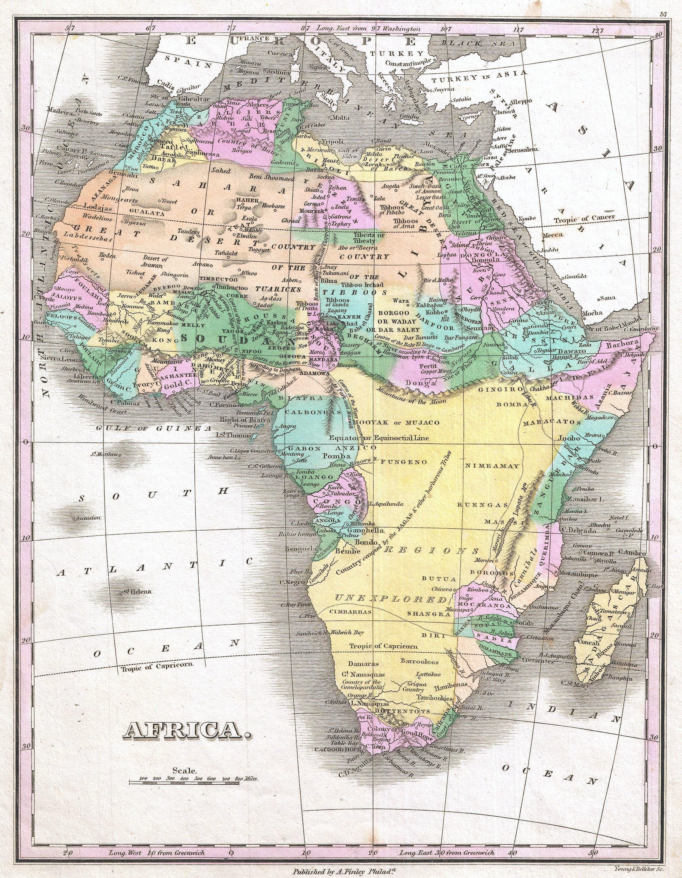 1827 Finley Map Of Africa Showing The Mountains Of Kong And The Mountains Of The Moon Africa Map Old Maps Old Map