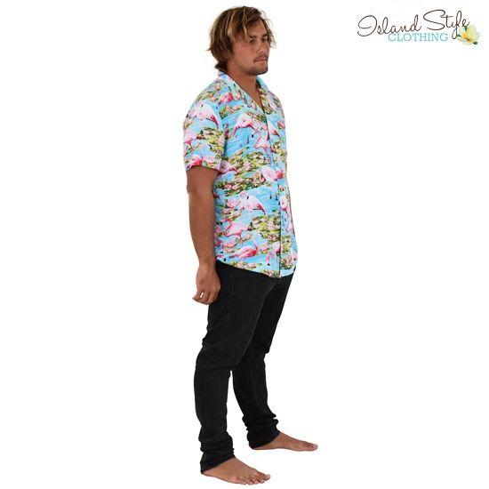 5ad1b90de9af6b Turquoise Flamingo Loud Mens Hawaiian Shirts. Lit party shirts for beach  parties, cruising,