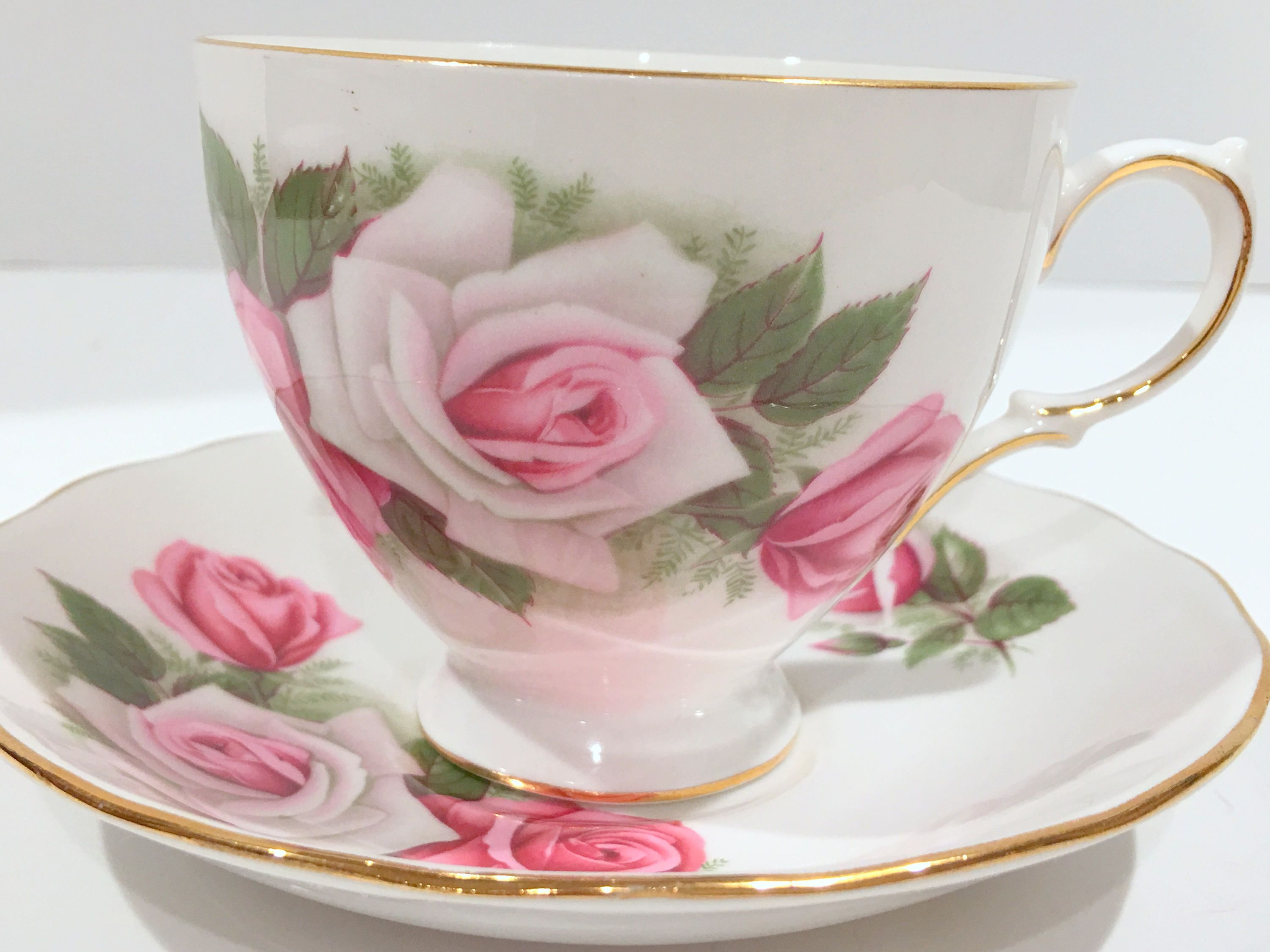 Gainsborough Tea Cup and Saucer, English Bone China Cups, Pink Rose ...