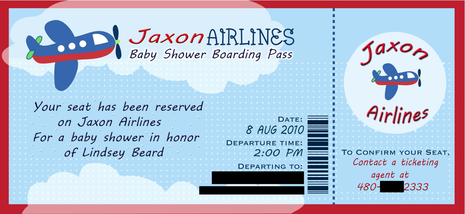 Airplane Baby Invitations Free For All Themed Babyshower