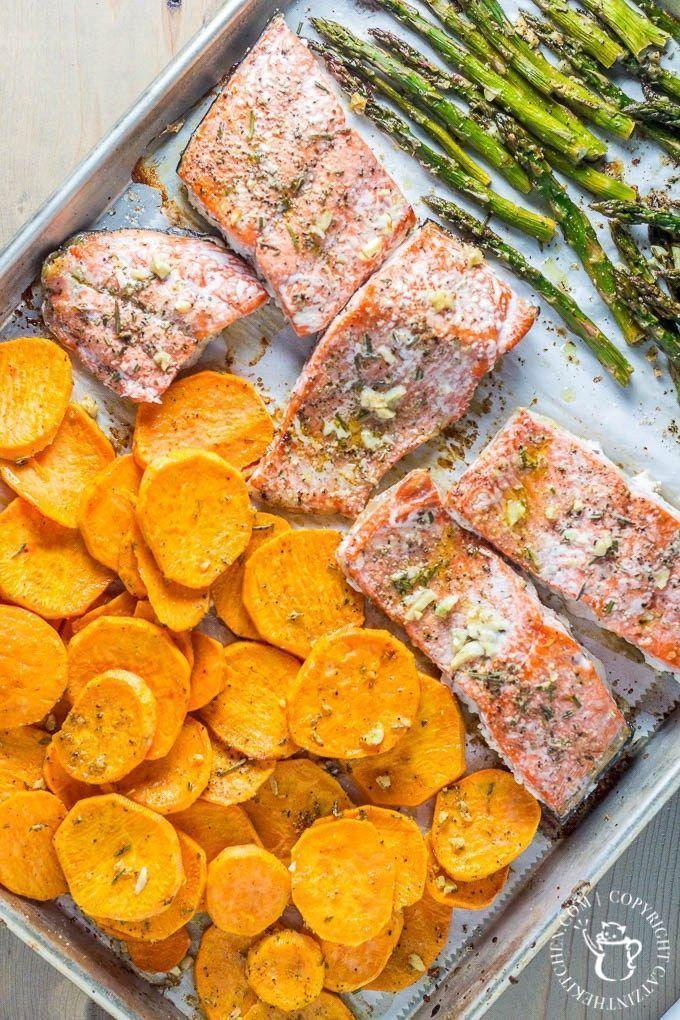 One Pan Salmon, Asparagus, & Sweet Potato Dinner images