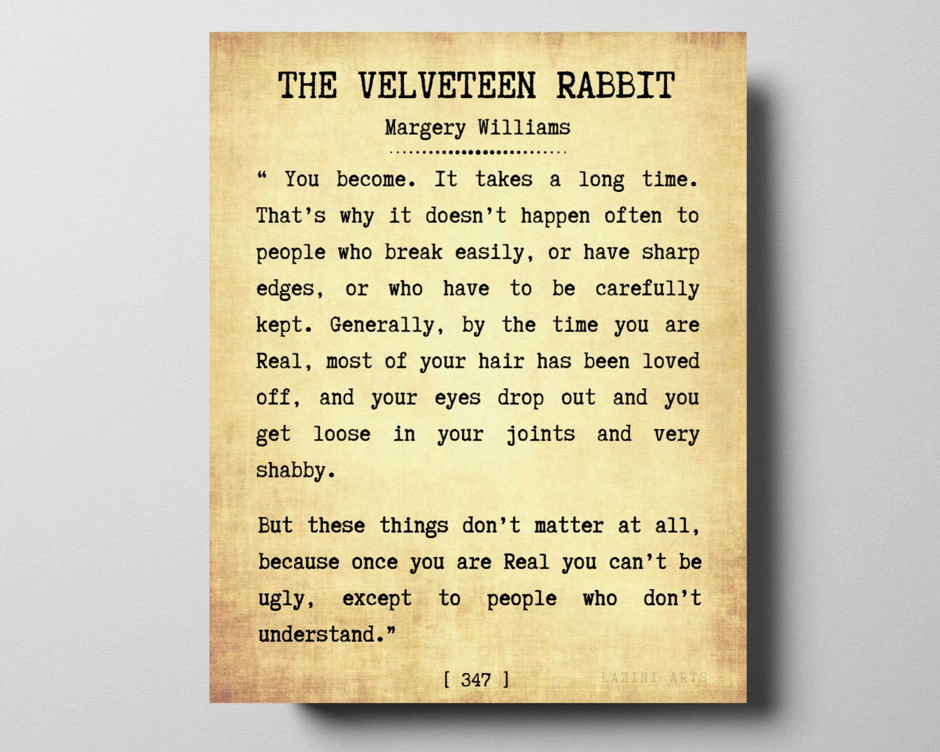 The Velveteen Rabbit By Margery Williams Typewriter Font
