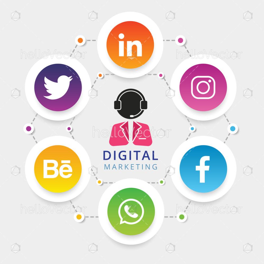 Digital Marketing Brochure Template With Social Media Icons Vector Illustration Download Graphics Vectors Social Media Icons Vector Digital Marketing Digital Marketing Design