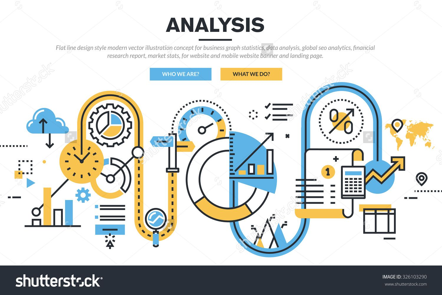Flat Line Design Vector Illustration Concept For Business Graph