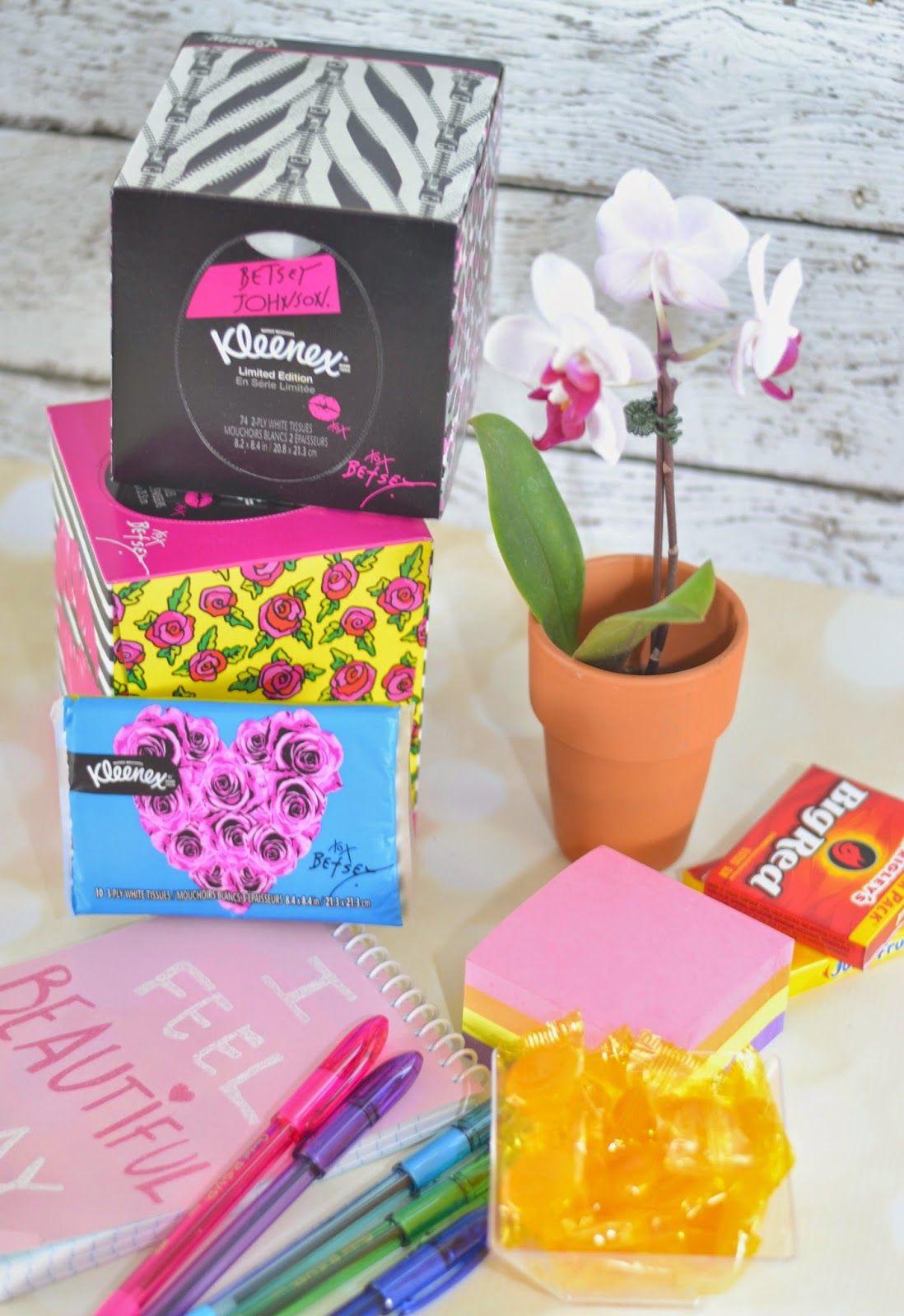 KLEENEX® Betsey Styled Single Packs, KLEENEX® Betsey Styled Wallet 3 Packs, fun office supplies, new job basket, Congratulations on the new job. New Job Survival Kit Gift Basket