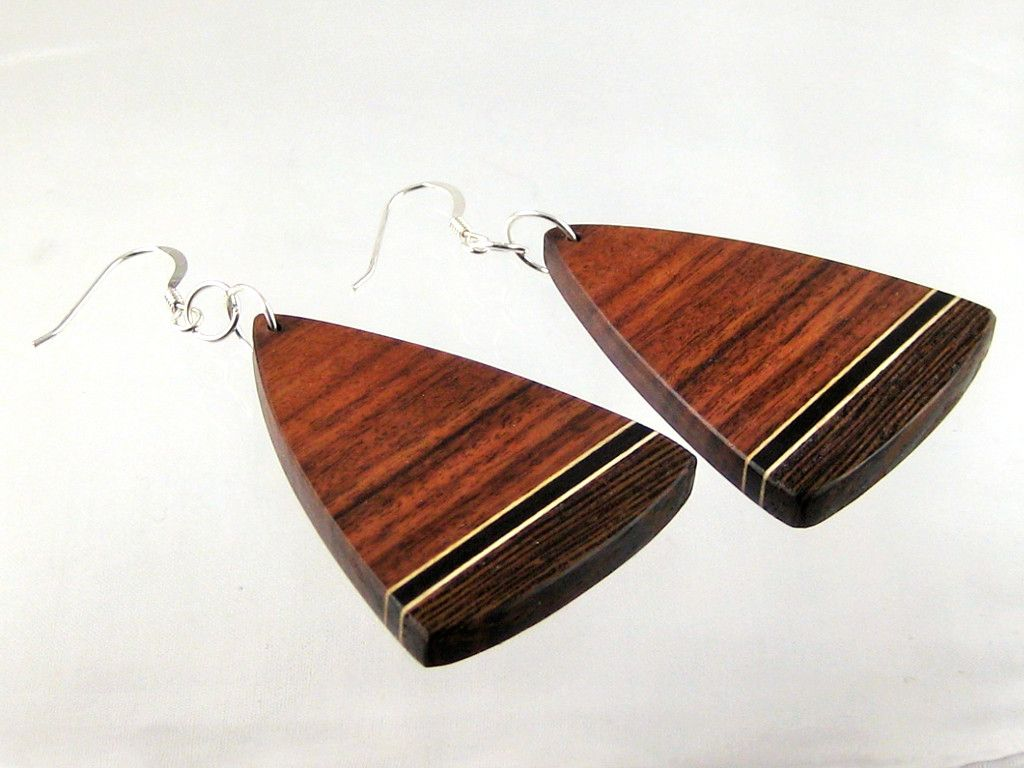 101092ac2192e5 Wenge earrings with zebrawood, maple & ebony – soft triangle on sterling  silver ear wires. One of a kind wearable art. Lightweight.