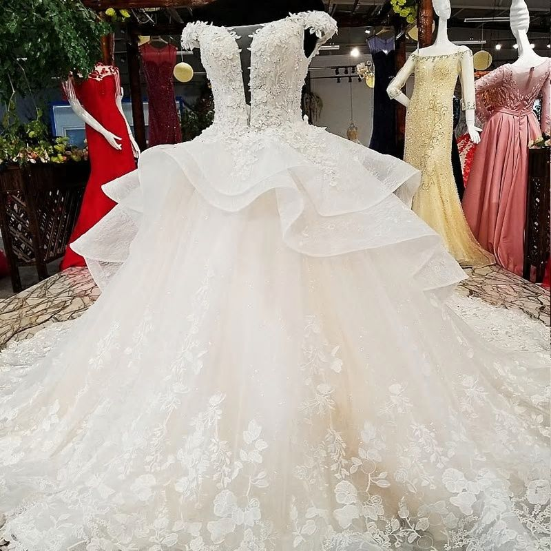 83ac9ac5c2da7 Vivian's Bridal Deep V-neck Illusion Mesh Ruffle Wedding Dress Boat-neck  Lace-