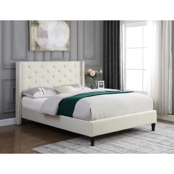 Boswell Tufted Upholstered Low Profile Platform Bed in