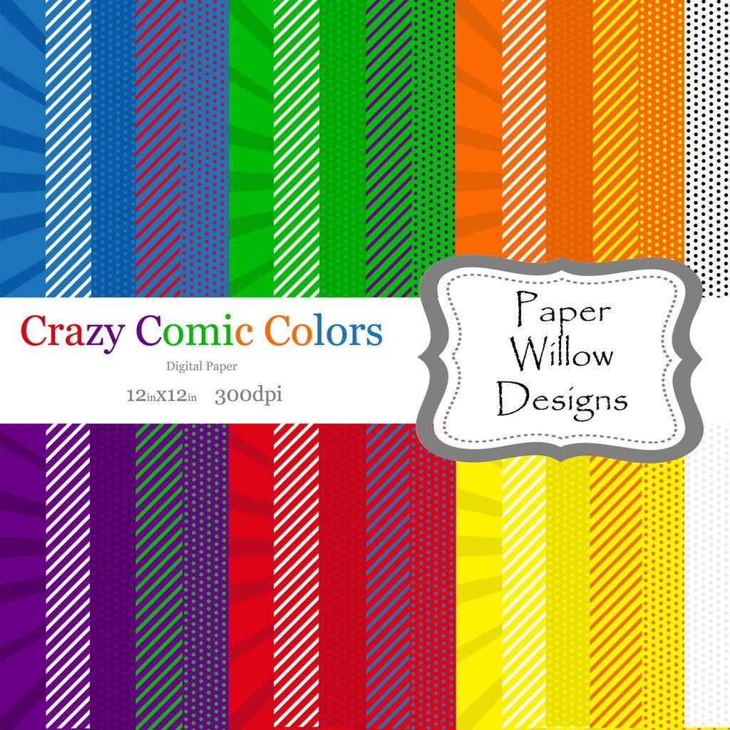 Crazy Comic Colors-Digital Paper