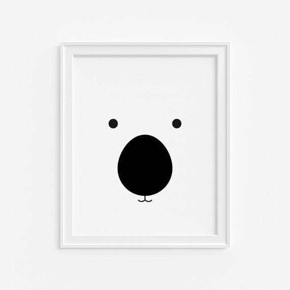 Bear Nursery Art Print Black and White Kids Poster (AP