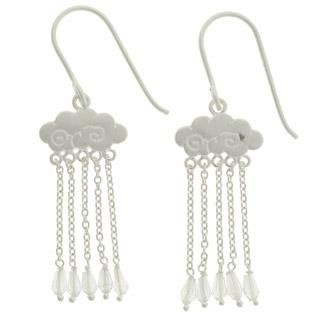 Tashi Earrings Brushed Sterling Silver Cloud With Fine Chain Rain Drop 2cm
