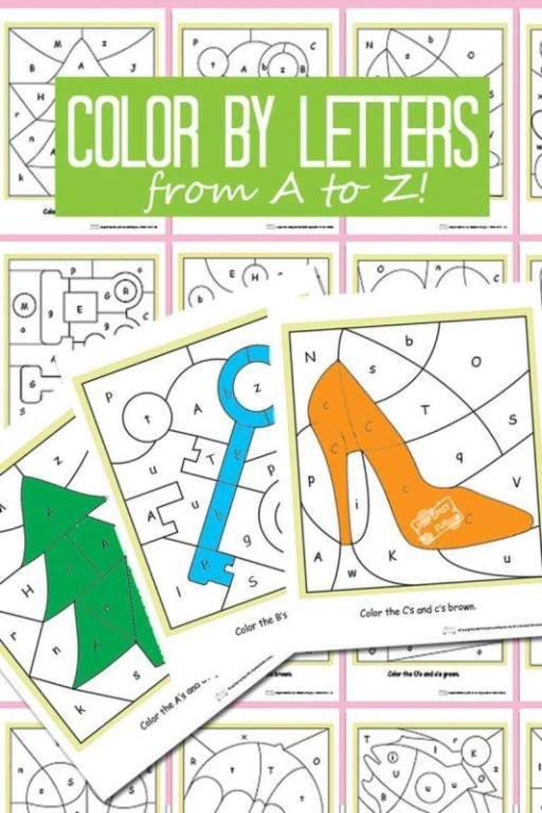 Color By Letters Alphabet Shapes   Preschool letters ...