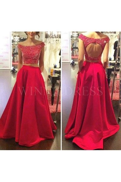 Shop discount Red Off the Shoulder Keyhole Back Satin Beaded Two Piece Prom  Dress With Pocket WNPD0310